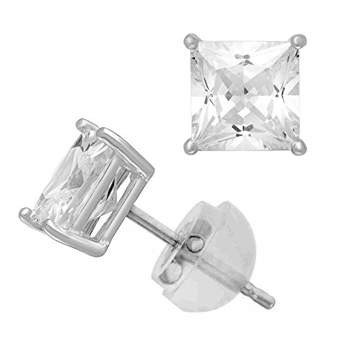 Zirconia Princess Cut CZ 10.0 mm Stud Earring Comfort Fit ()
