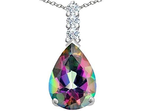 Star K Large 14x10mm Pear Shape Rainbow Mystic Quartz Pendant Necklace Sterling Silver