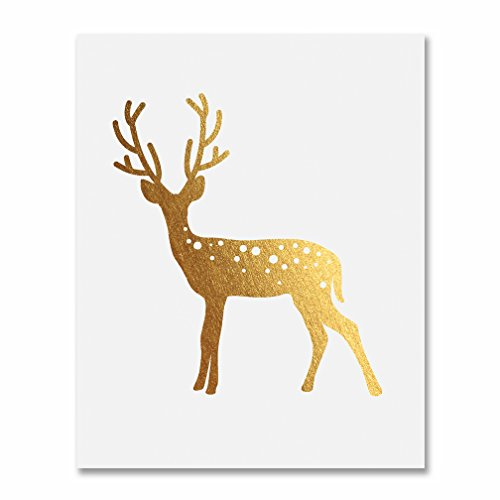 Deer Gold Foil Print Poster Home Decor Wall Art Print Reindeer Antlers Rustic Chic Metallic Gold Art 8 inches x 10 inches D3 ()
