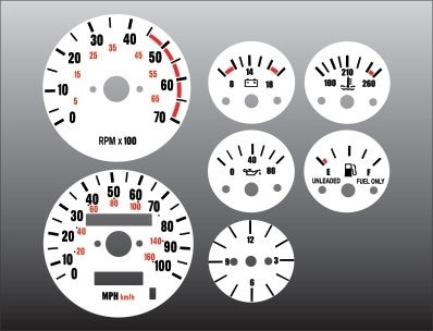 Jeep Wrangler Dash Overlay - 1987-1991 Jeep Wrangler White Face Gauges