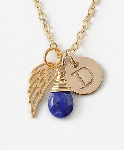 Personalized Stillborn Baby Necklace With Angel Wing September Birthstone - Sympathy Gifts After Miscarriage