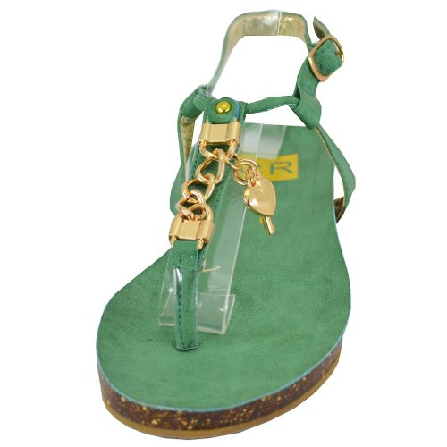 Cape Robbin Women's Delia-2 Flat Sandals, Green