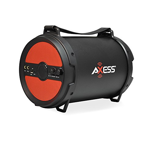 "AXESS SPBT1040 Portable Bluetooth 2.1 Hi-Fi Cylinder Loud Speaker with Built-In 6"" Sub and FM Radio, SD Card, USB, AUX, 6.5mm Inputs in Red (2x Wired Mics Included)"