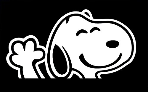 UR Impressions Snoopy Waving Decal Vinyl Sticker Graphics for Cars Trucks SUV Vans Walls Windows Laptop|White|6.2 x 3.6 Inch|URI298