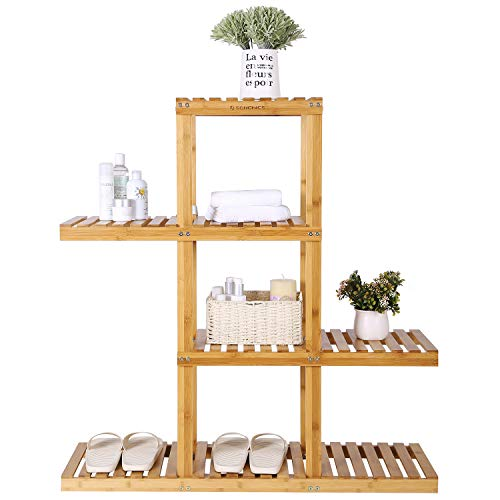 SONGMICS Bamboo Wood Plant Display Rack, Stand Shelf, Flower Pots Holder, 4 Tier Utility Shelving Standing Unit Storage Organizer Rack for Living Room Balcony Hallway Bathroom UBCB91N by SONGMICS (Image #8)