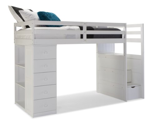 Canwood Mountaineer Loft Bed with Storage Tower and Built in Stairs Drawers, Twin, White