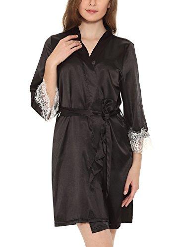 Yulee Women's Kimono Lace-Trimmed Bathrobe Short Satin Robe Lingerie Sleepwear Black, XL