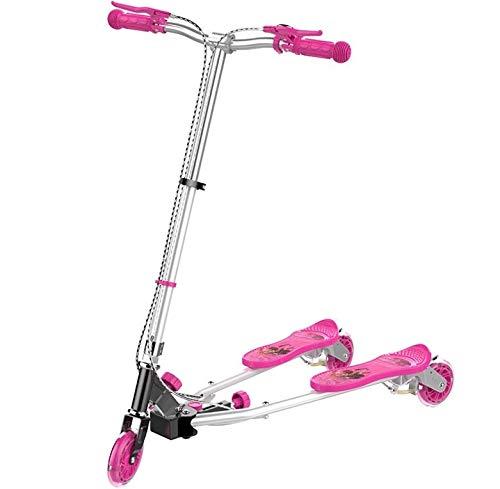 子供のカエル三輪スクーター多目的折りたたみアルミシザー車のPUフラッシュホイール ( Color : ピンク )   B07P95TBNL
