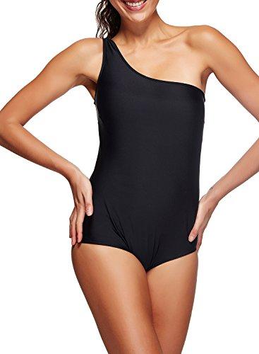 Passionate Adventure Athletic One Piece Jena OTS Single Shoulder Push Up Bikini Monokini Tankini Swimwear Sexy Black M (US 4-6)