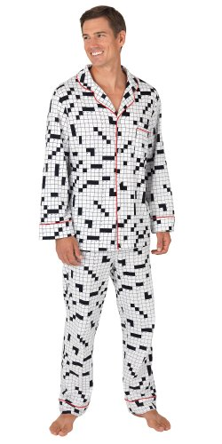 Brushed Cotton Jersey Crossword Puzzle Pajamas for Men