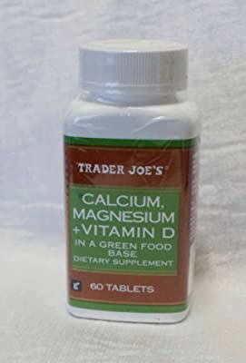 Trader Joes Calcium, Magnesium+Vitamin D in a Green Food Base, 60 Tablets