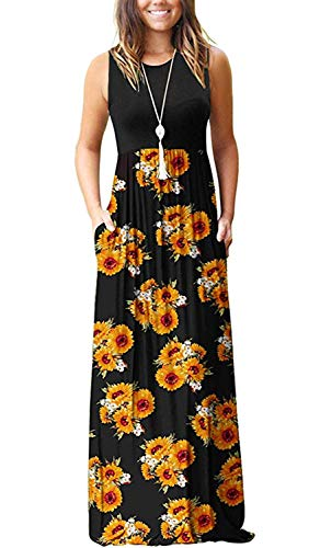 (MISFAY Womens Summer Contrast Sleeveless Tank Top Floral Print Maxi Dress (S, Sunflower))