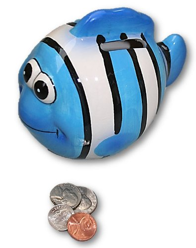 Ceramic Colorful Tropical Fish Bank (Blue Fish)