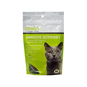 Tomlyn Immune Support Daily L-Lysine Supplement, Fish-Flavored Lysine Chews for Cats and Kittens, 30ct