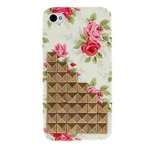 Aesthetic Style Bronze Square Rivets Covered Down Stairs and Rose Pattern Hard Case with Glue for iPhone 4/4S