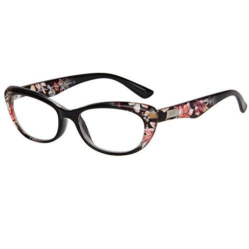 LianSan womens designer compact cat eye retro fashion reading glasses 1.0 1.25 1 .5 1.75 2 00 2.25 2.50 2.75 3.0 3.25 3.5 4.0 L3705 black (+1.75)