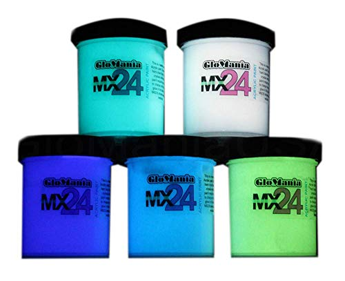 MX24 Glow in The Dark Paint 5 Colors 1/2oz Set (2.5oz Total) ()