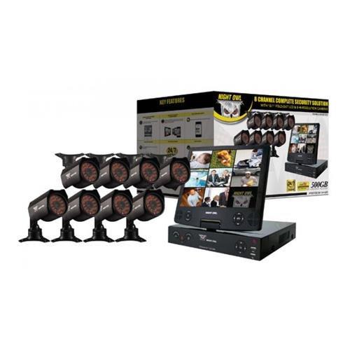 Night Owl 10.1'' 8 Channel LCD DVR with 8 Hi-Resolution 600TVL Cameras, 500GB HDD