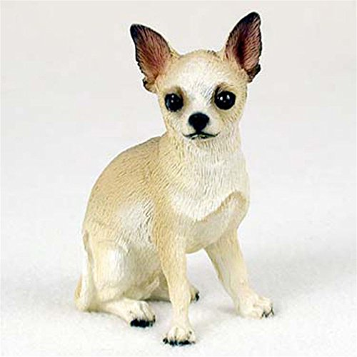 Ky & Co YesKela Chihuahua Figurine Hand Painted Collectible Statue White/Tan