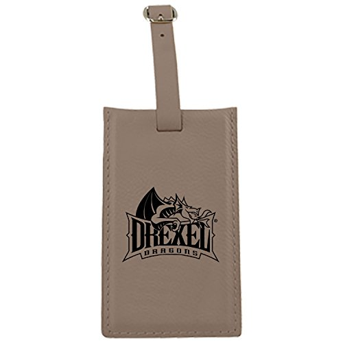 Drexel University -Leatherette Luggage Tag-Tan by LXG, Inc.