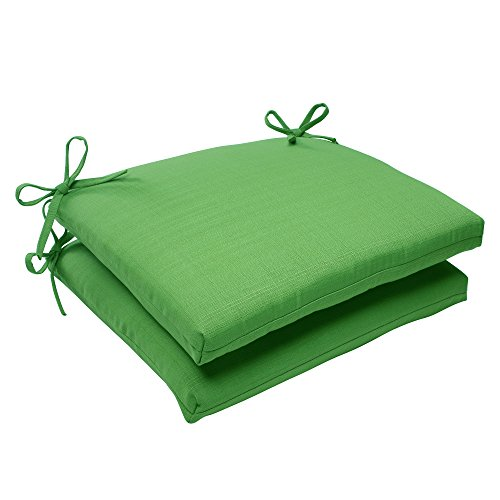 Pillow Perfect Indoor/Outdoor Forsyth Squared Seat Cushion, Green, Set of 2 by Pillow Perfect