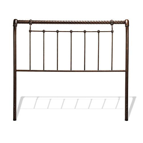 Fashion Bed Sleigh Bed - Leggett & Platt Legion Metal Sleigh-Styled Headboard Panel with Twisted Rope Top Rail, Ancient Gold Finish, Queen