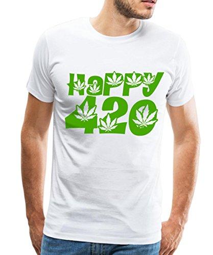 Spreadshirt Happy 420 Cannabis Leaves Mens Premium T Shirt  5Xl  White
