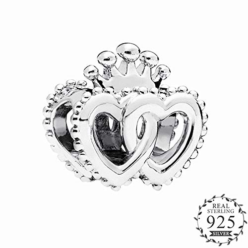 Pukido 2018 Autumn United Regal Hearts Charm fits Pandora Bracelet Sterling Silver 925 Original Crown Heart Beads DIY Jewelry Making.