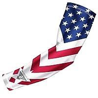 Bucwild Sports USA Mexico Puerto Rico Canada Flag Compression Arm Sleeve - Youth & Adult Sizes - Baseball Basketball Football Running Boys Girls Kids Men & Women