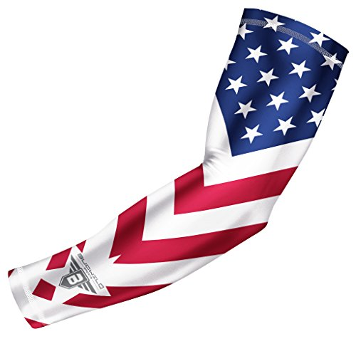 Bucwild Sports USA Flag Compression Arm Sleeve - Youth & Adult Sizes - Baseball Basketball Football Volleyball Golf Running (1 Sleeve Youth Medium)