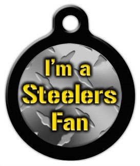 Steelers Fan - Custom Pet ID Tag for Dogs and Cats - Dog Tag Art - LARGE SIZE