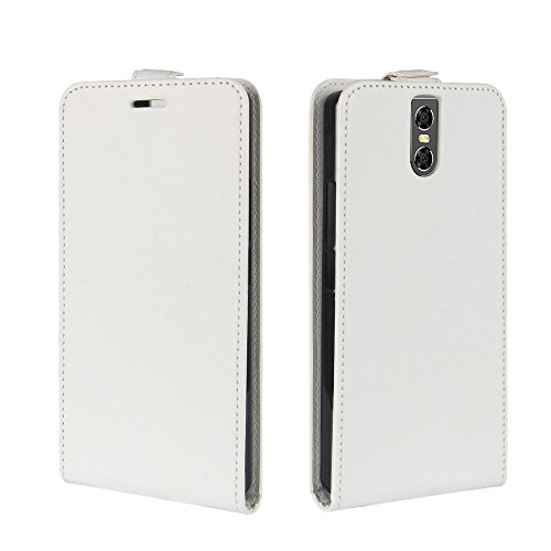 Doogee BL7000 Case, Lifeepro Doogee BL7000 Leather Wallet Case Book Design with Flip Cover and Stand [Credit Card Slot] Cover Case for Doogee BL7000 - White (Pocket Ri Star)