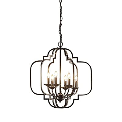 Modern Farmhouse Chandelier Suitable For Dining Rooms And Entryways With High Or Low Ceilings. Candle-Style Light Fixture Provides Multidirectional Lighting. Hanging Pendant Lamp Creates Timeless Feel