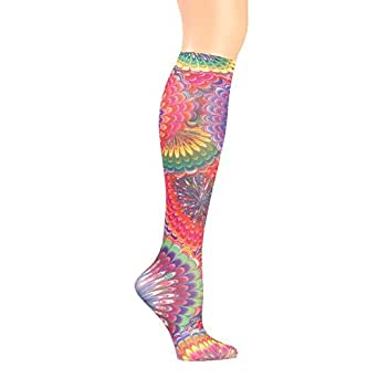 Women's Wide Calf Printed Moderate Compression Knee Highs - Tie Dye