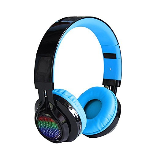 AB005 Wireless Bluetooth Headphone LED Light Stereo (Blue) - 4