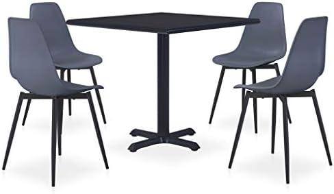 vidaXL – Set da pranzo da esterno, 5 pezzi, tavolo e sedie, mobili da giardino, cucina, patio, terrazzo, interno esterno in metallo e polipropilene, colore: Grigio