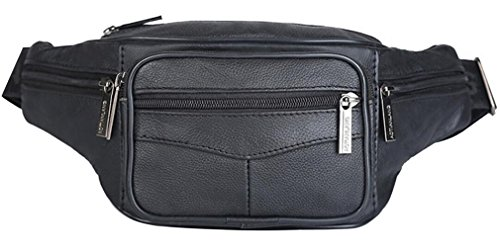 Unisex Black Soft Leather Bum Bag Waist Zippered Pocket (Black) - 5