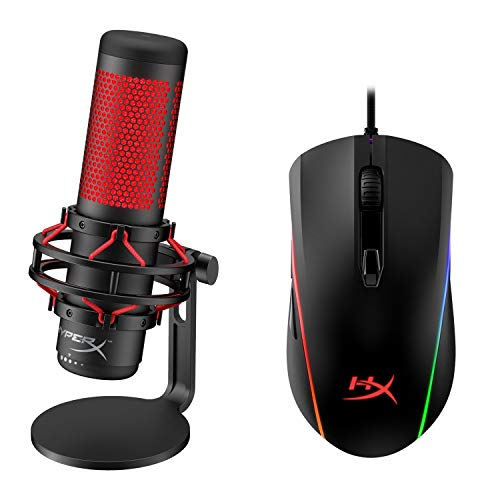 HyperX QuadCast - USB Condenser Gaming Microphone and HyperX Pulsefire Surge - RGB Wired Optical Gaming Mouse