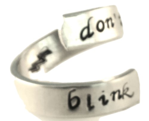 Don't Blink - Doctor Who - Adjustable Aluminum Wrap Ring (Grateful Dead Silver Ring)