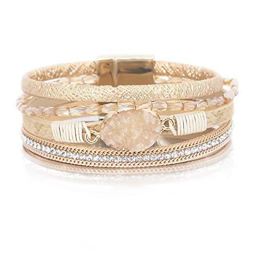 (Gold Leather Wrap Bracelet Boho Jewelry Cuff Bracelet Crystal Bead Bracelet Rhinestone Handmade Bangle Braided Magnetic Clasp Bracelet Multi Strand Bracelet for Women Girl Men)
