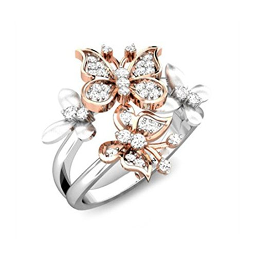 OBSEDE Two Tone Butterfly Ring Sleek Rose Golden Silver CZ Phoenix  Butterfly Band 6