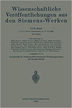 Book Wissenschaftliche Veröffentlichungen aus den Siemens-Werken: Volume 17