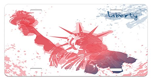 4th of July License Plate by Ambesonne, Watercolor Lady Liberty Silhouette with Paint Splashes Independence, High Gloss Aluminum Novelty Plate, 5.88 L X 11.88 W Inches, Dark Coral Pale - Liberty Silhouette Lady