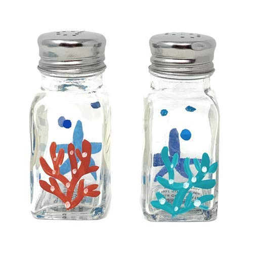 Hand Painted Seashell - Coastal Living Seascapes Glass Salt & Pepper Shakers (Hand Painted Seashells & Coral)
