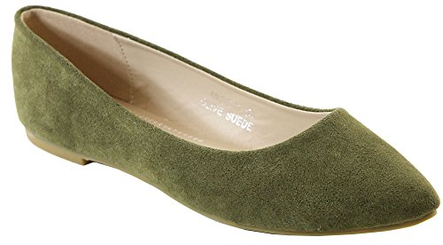 Bella Marie Angie-53 Women's Classic Pointy Toe Ballet Slip On Suede Flats (6.5 B(M) US, Olive) -