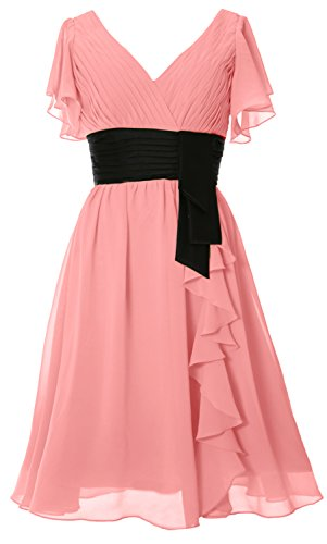 MACloth Elegant Short Sleeve Mother of Bride Dress V Neck Cocktail Formal Gown Blush Pink