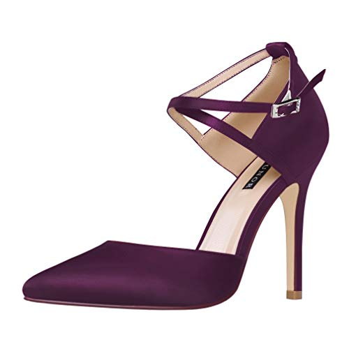 ERIJUNOR E2264 Women High Heel Ankle Strap Satin Dress Pumps Evening Prom Wedding Shoes Plum Size 8
