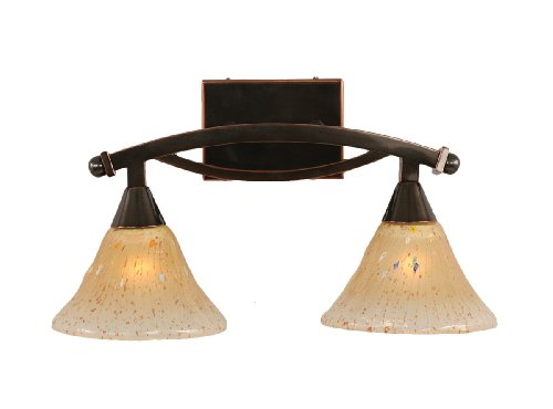 Toltec Lighting 172-BC-750 Bow Two-Light Bathroom Bar Black Copper Finish with Amber Crystal Glass, 7-Inch