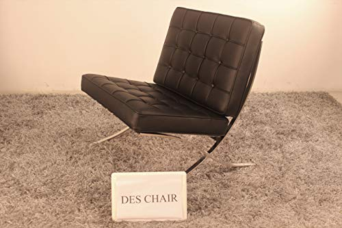 (Premium Genuine Leather Replica Barcelona Chair with Stainless Steel Frame (Black))