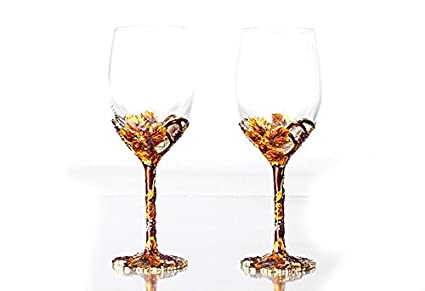 Amazon Com Bestbling Pewter Decorative Crystal Wine Glass Enamel